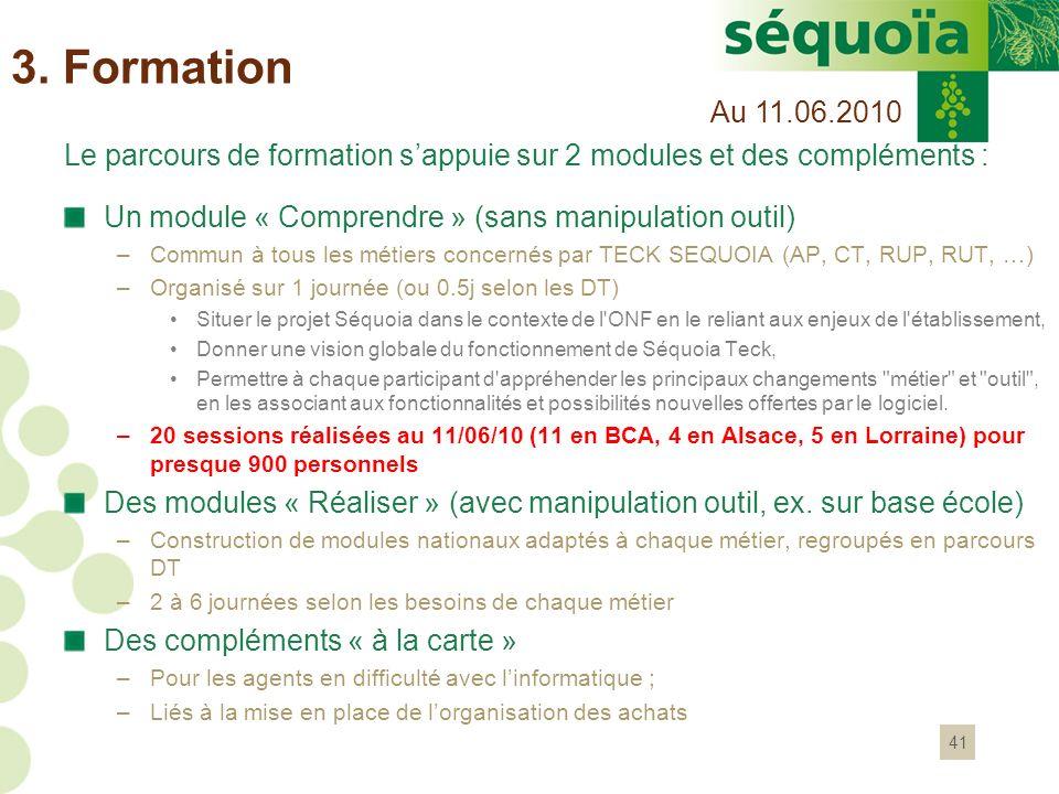 3. Formation Au 11.06.2010. Le parcours de formation s'appuie sur 2 modules et des compléments : Un module « Comprendre » (sans manipulation outil)