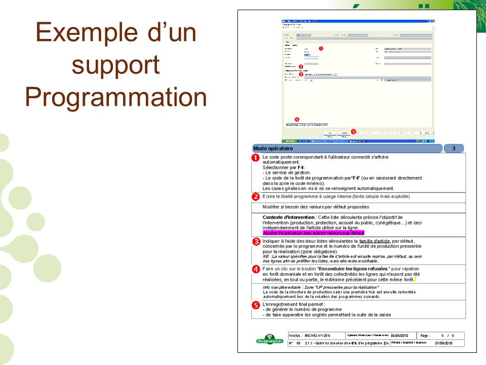 Exemple d'un support Programmation