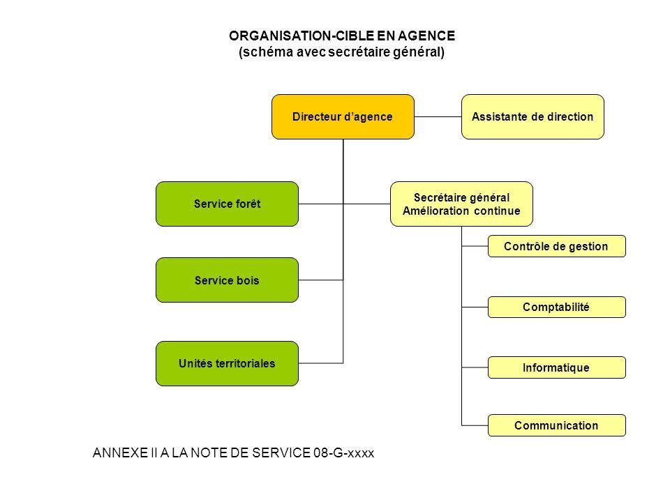 ORGANISATION-CIBLE EN AGENCE (schéma avec secrétaire général)