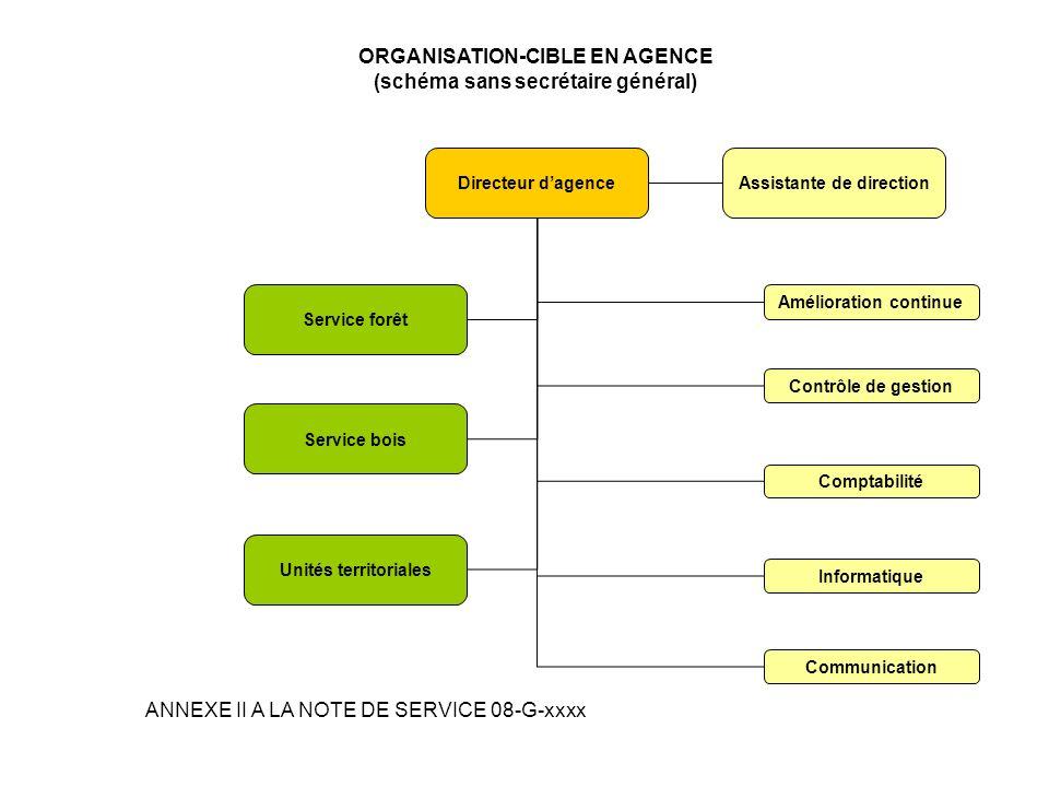 ORGANISATION-CIBLE EN AGENCE (schéma sans secrétaire général)