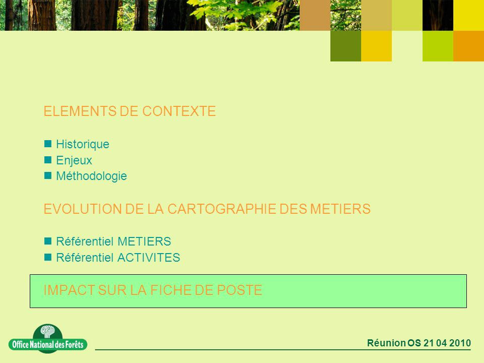 EVOLUTION DE LA CARTOGRAPHIE DES METIERS