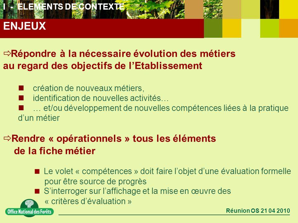 I - ELEMENTS DE CONTEXTE