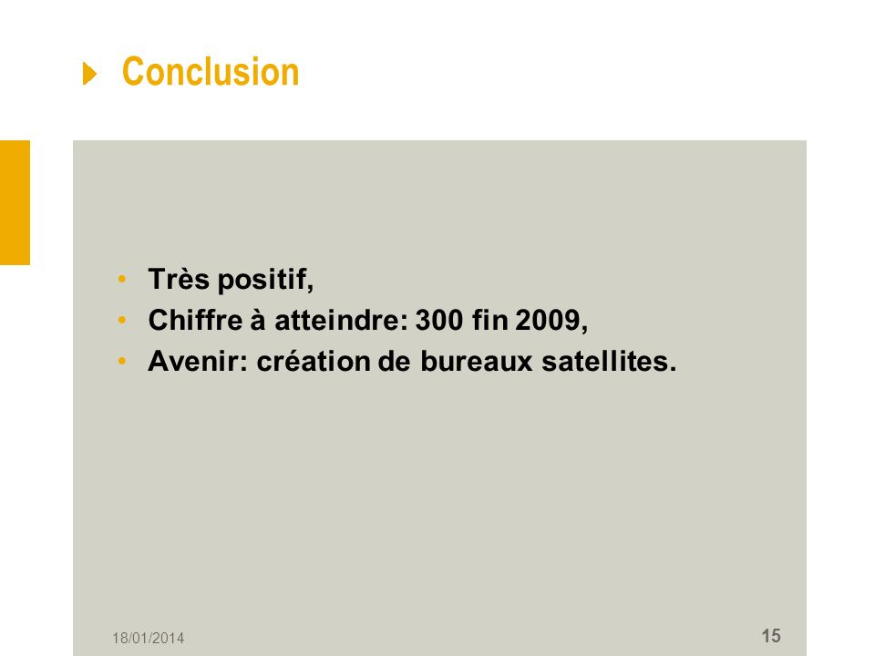 Conclusion Très positif, Chiffre à atteindre: 300 fin 2009,