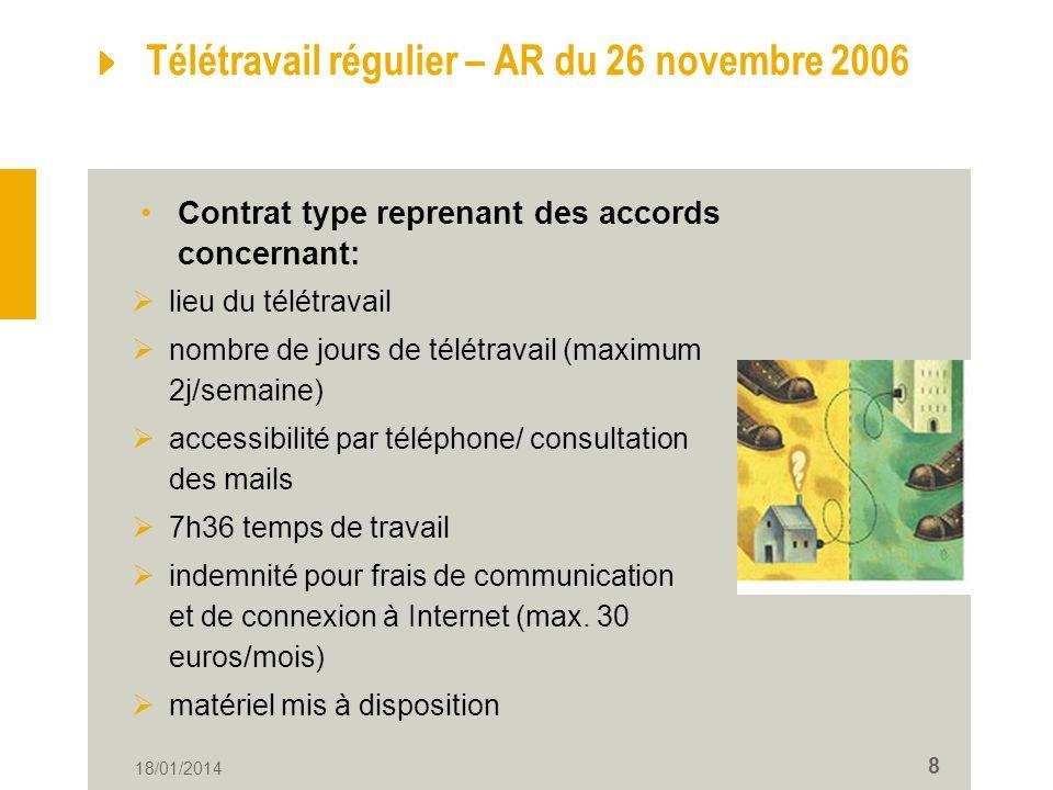 Télétravail régulier – AR du 26 novembre 2006