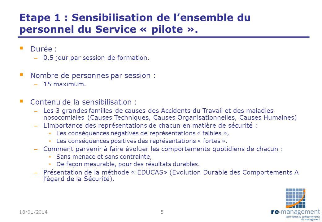 Etape 1 : Sensibilisation de l'ensemble du personnel du Service « pilote ».