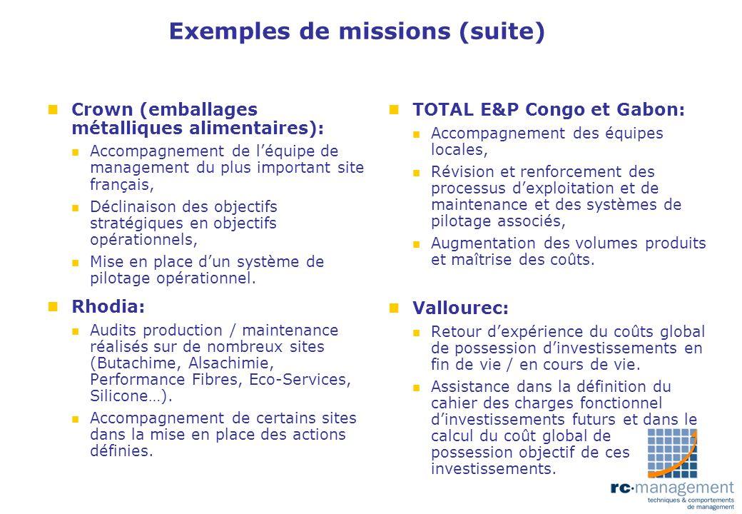 Exemples de missions (suite)