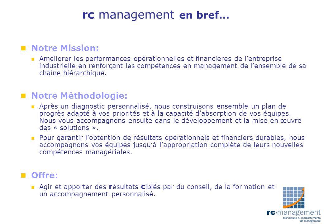 rc management en bref… Notre Mission: Notre Méthodologie: Offre: