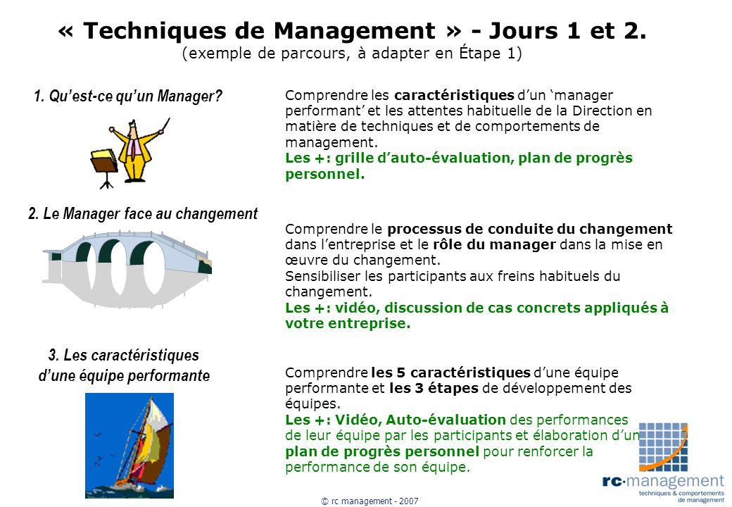 « Techniques de Management » - Jours 1 et 2