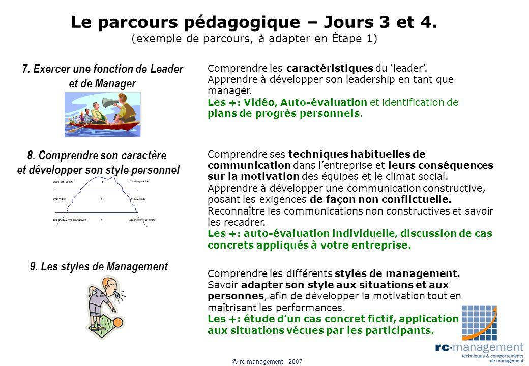 Le parcours pédagogique – Jours 3 et 4