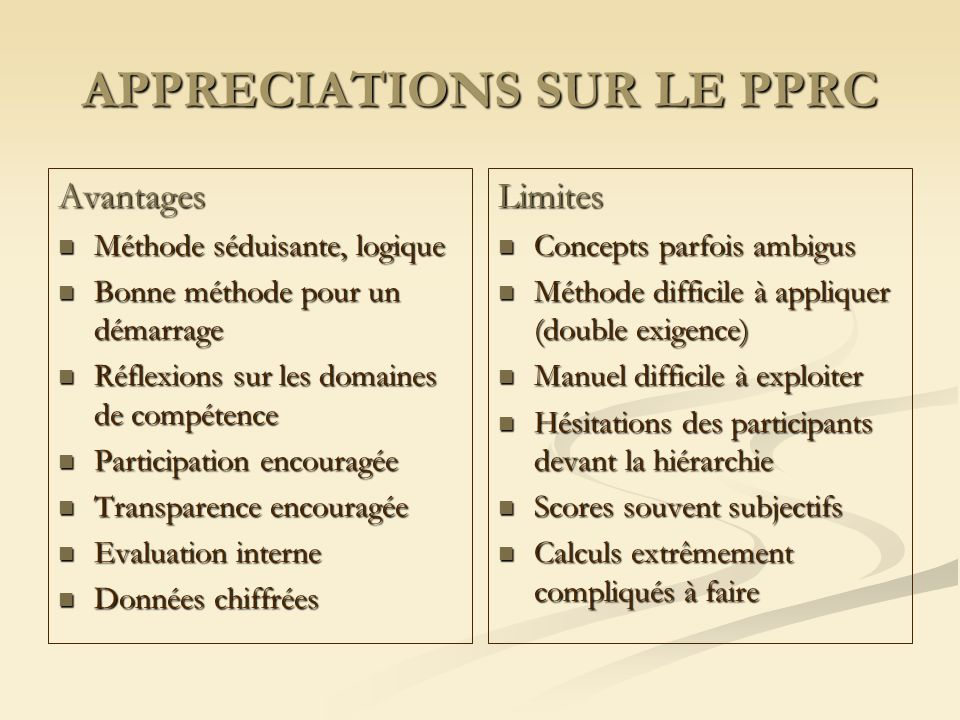 APPRECIATIONS SUR LE PPRC