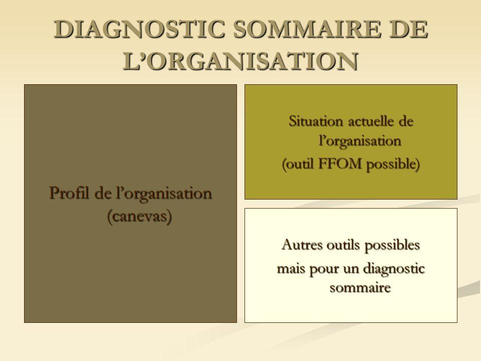 DIAGNOSTIC SOMMAIRE DE L'ORGANISATION