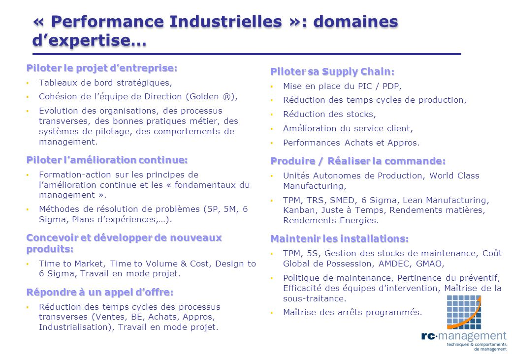 « Performance Industrielles »: domaines d'expertise…