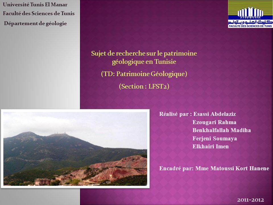 Sujet de recherche sur le patrimoine géologique en Tunisie