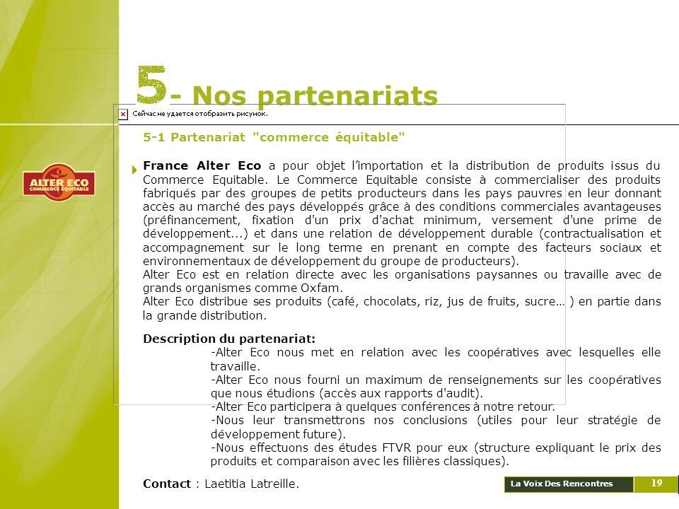 - Nos partenariats 5-1 Partenariat commerce équitable