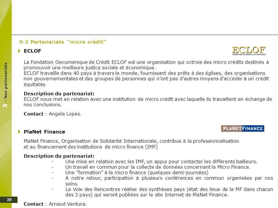 5 - Nos partenariats 5-2 Partenariats micro crédit ECLOF