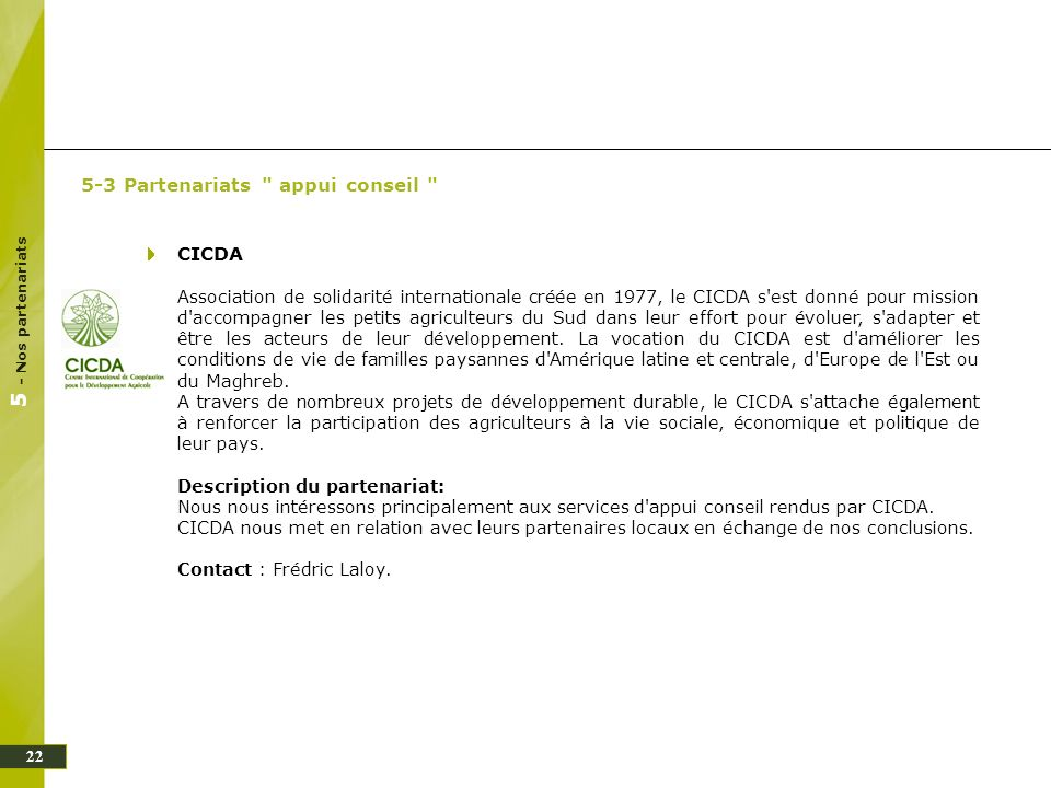 5 - Nos partenariats 5-3 Partenariats appui conseil CICDA
