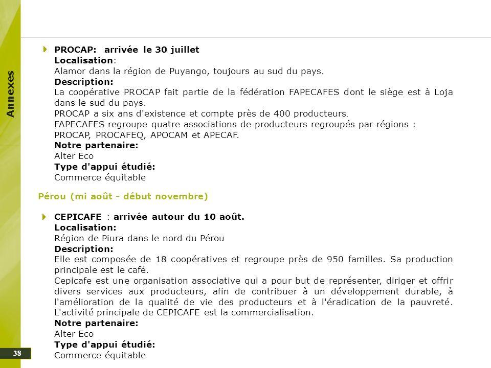 Annexes PROCAP: arrivée le 30 juillet Localisation: