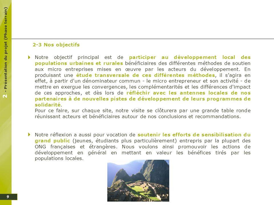 2 - Présentation du projet (Phase terrain)