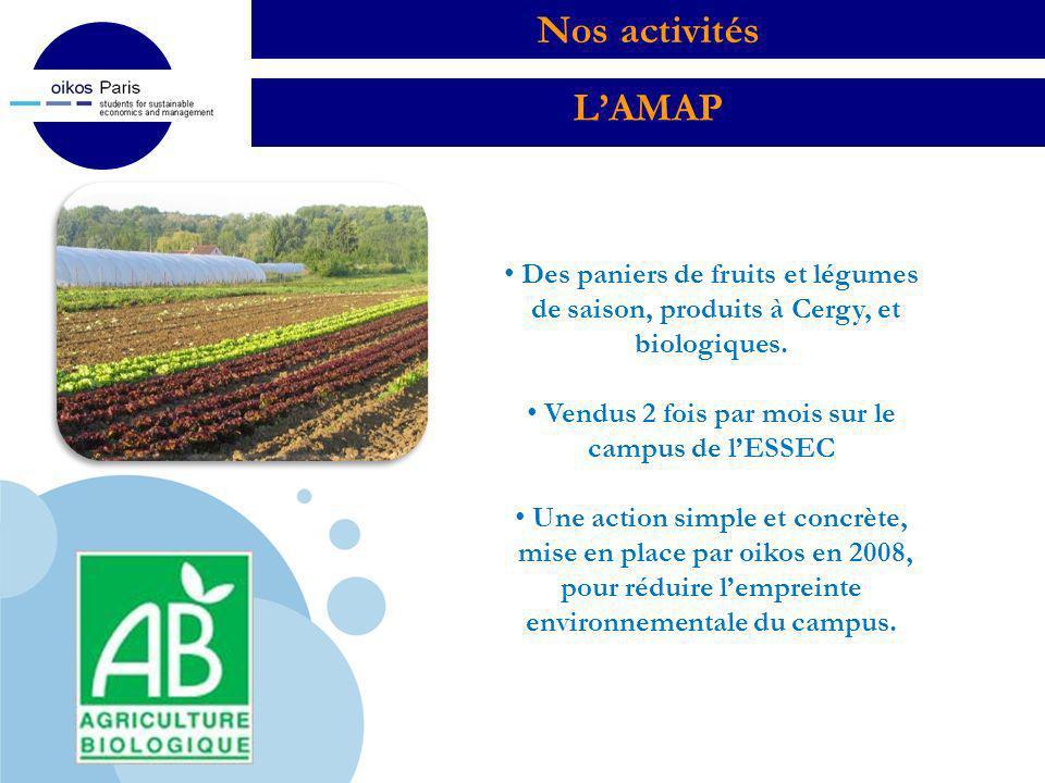 Nos activités L'AMAP Des paniers de fruits et légumes