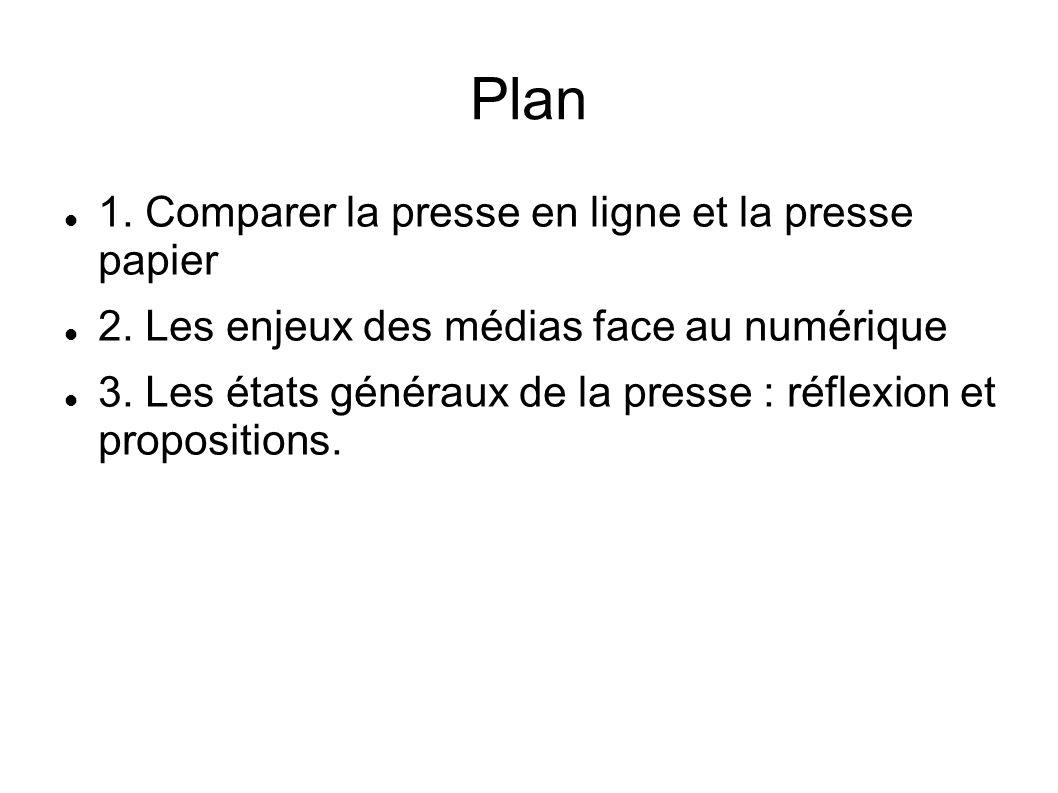 Plan 1. Comparer la presse en ligne et la presse papier