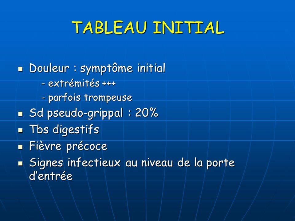 TABLEAU INITIAL Douleur : symptôme initial Sd pseudo-grippal : 20%