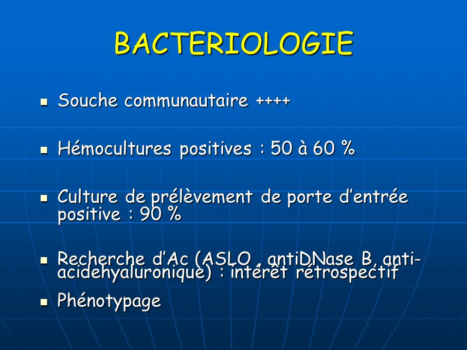 BACTERIOLOGIE Souche communautaire ++++
