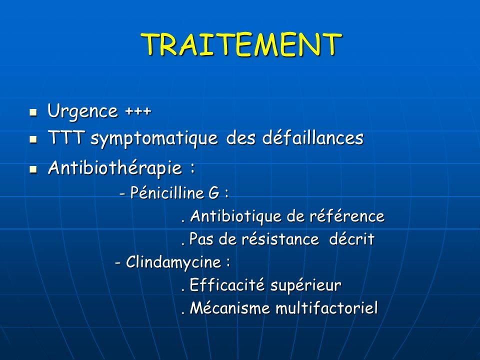 TRAITEMENT Urgence +++ TTT symptomatique des défaillances