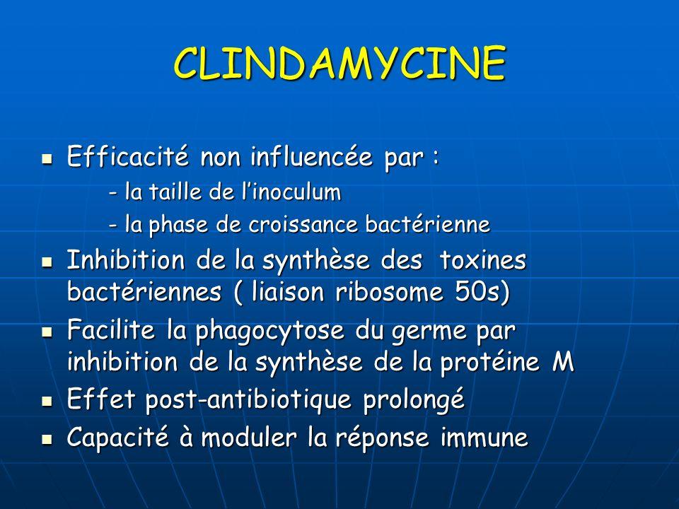 CLINDAMYCINE Efficacité non influencée par :