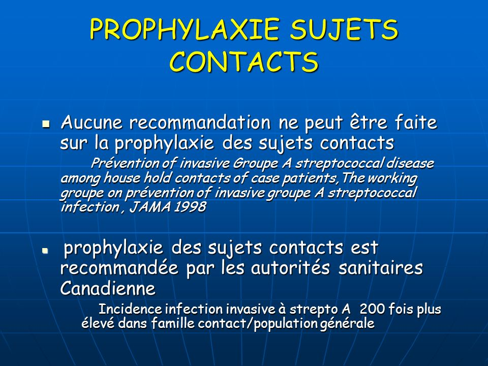 PROPHYLAXIE SUJETS CONTACTS