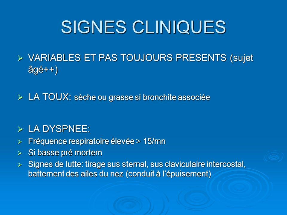 SIGNES CLINIQUES VARIABLES ET PAS TOUJOURS PRESENTS (sujet âgé++)