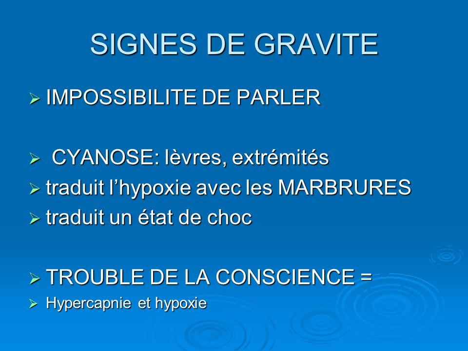 SIGNES DE GRAVITE IMPOSSIBILITE DE PARLER CYANOSE: lèvres, extrémités