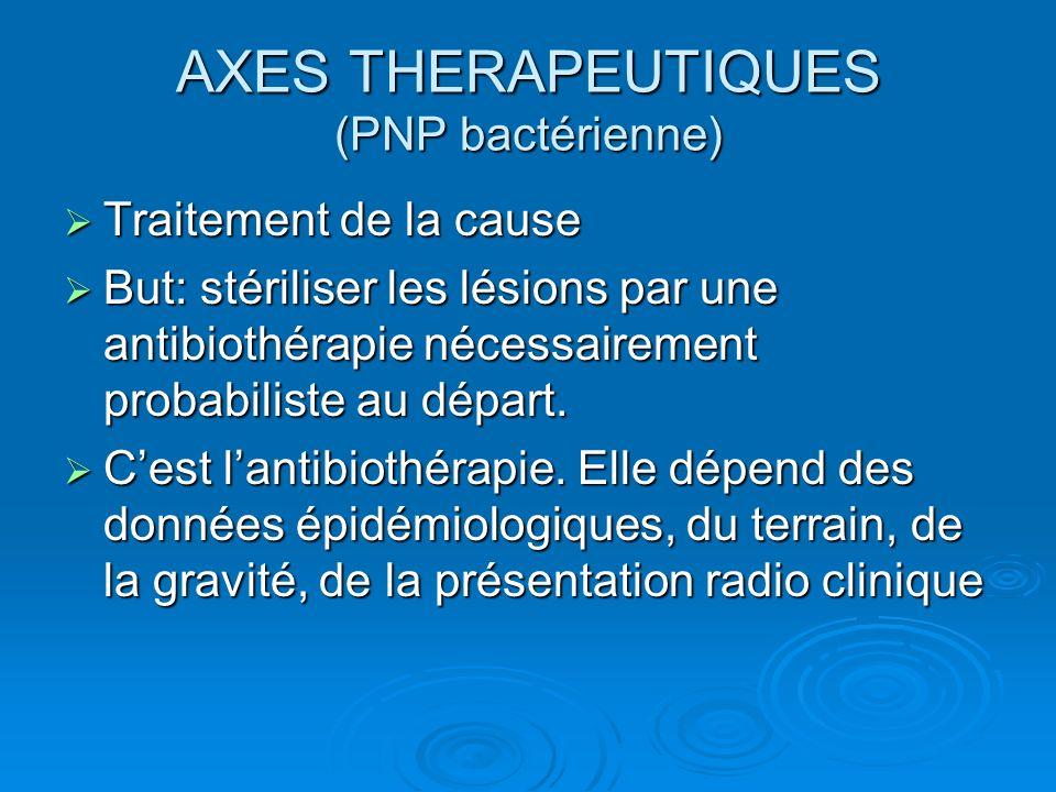 AXES THERAPEUTIQUES (PNP bactérienne)