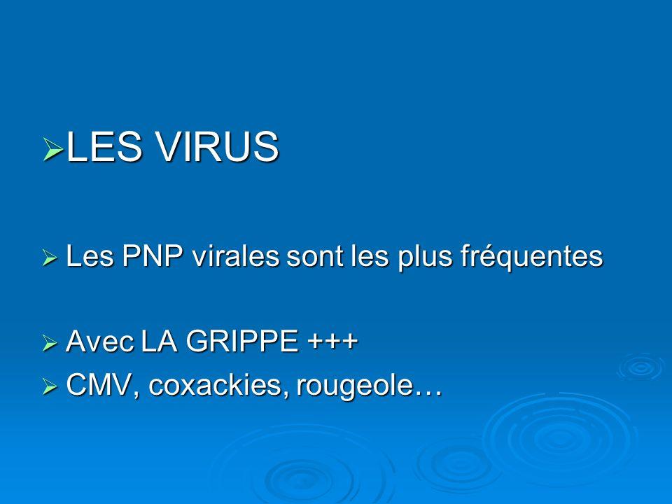 LES VIRUS Les PNP virales sont les plus fréquentes Avec LA GRIPPE +++