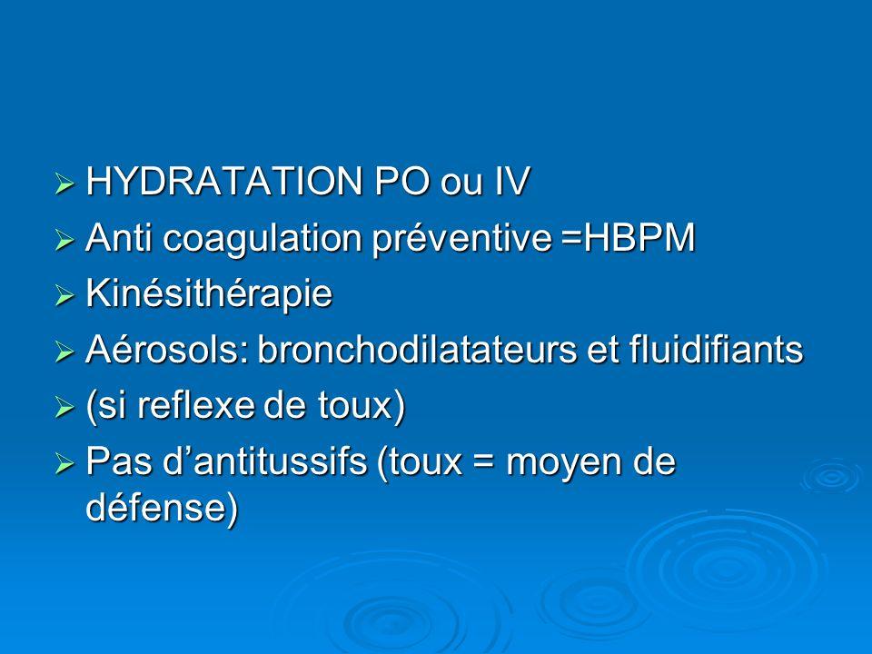 HYDRATATION PO ou IV Anti coagulation préventive =HBPM. Kinésithérapie. Aérosols: bronchodilatateurs et fluidifiants.