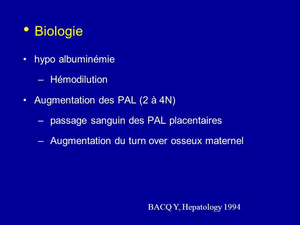 Biologie hypo albuminémie Hémodilution Augmentation des PAL (2 à 4N)