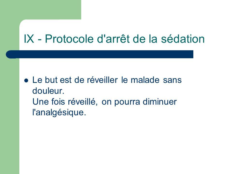 IX - Protocole d arrêt de la sédation