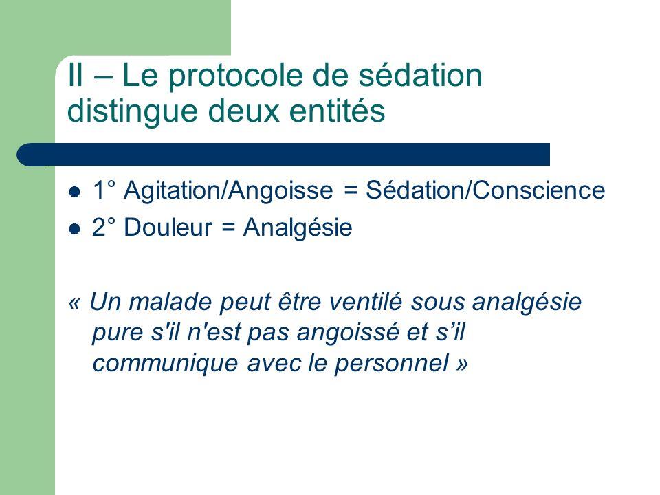 II – Le protocole de sédation distingue deux entités