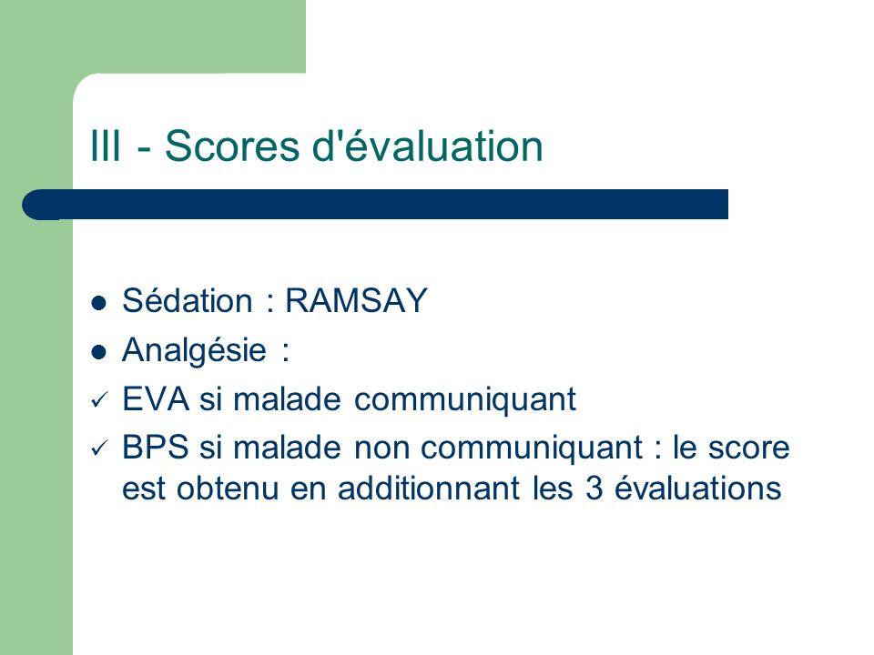 III - Scores d évaluation