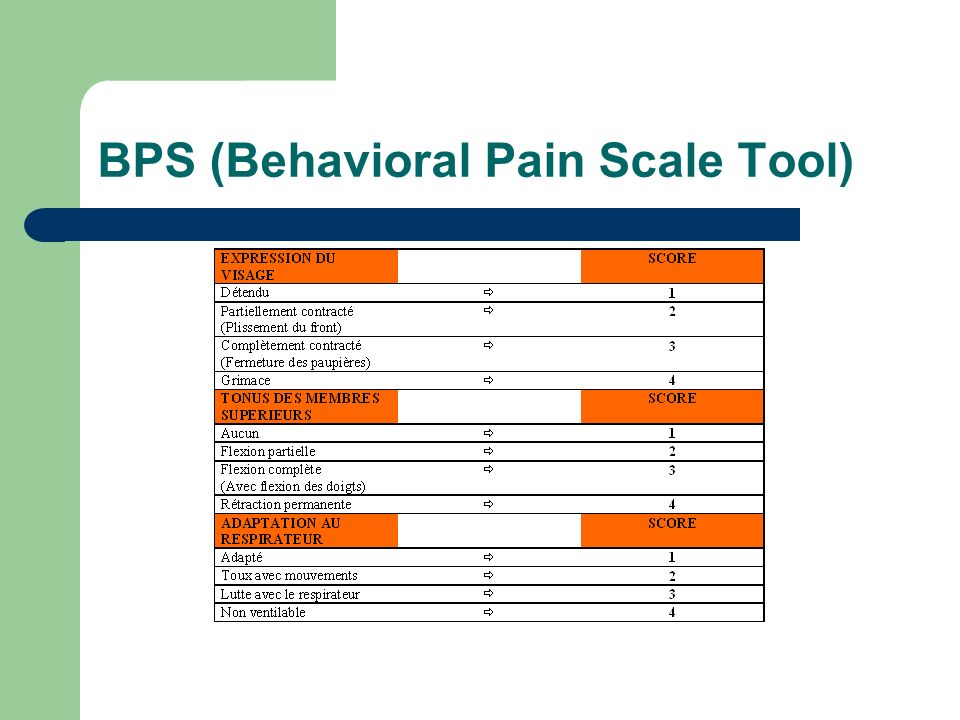 BPS (Behavioral Pain Scale Tool)