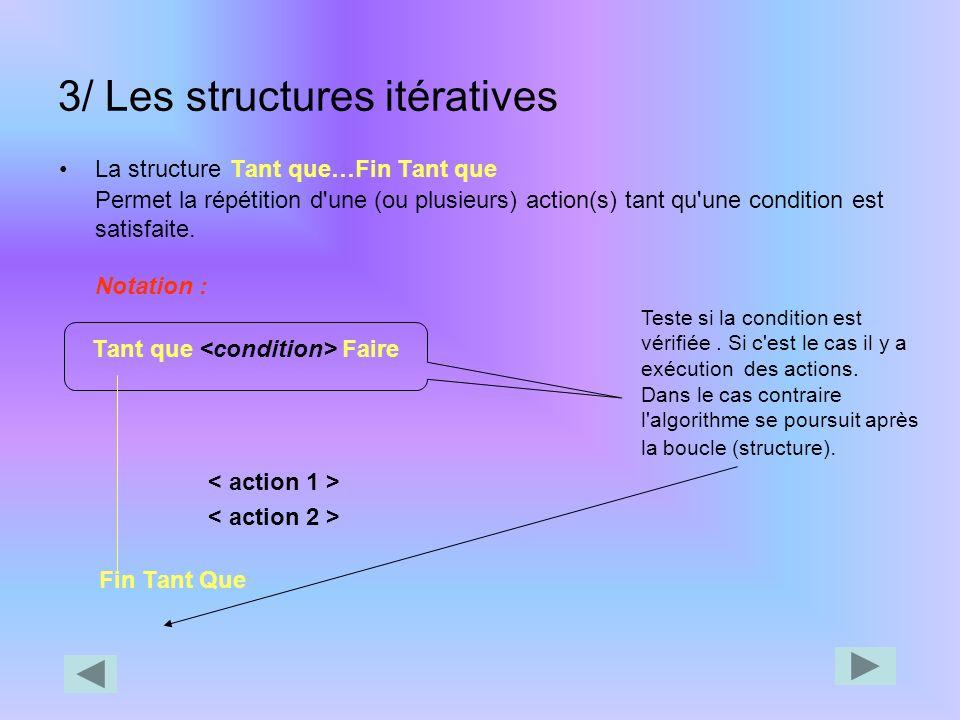 3/ Les structures itératives