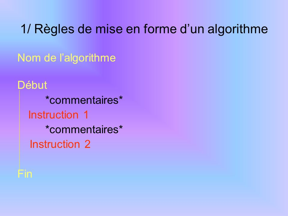 1/ Règles de mise en forme d'un algorithme