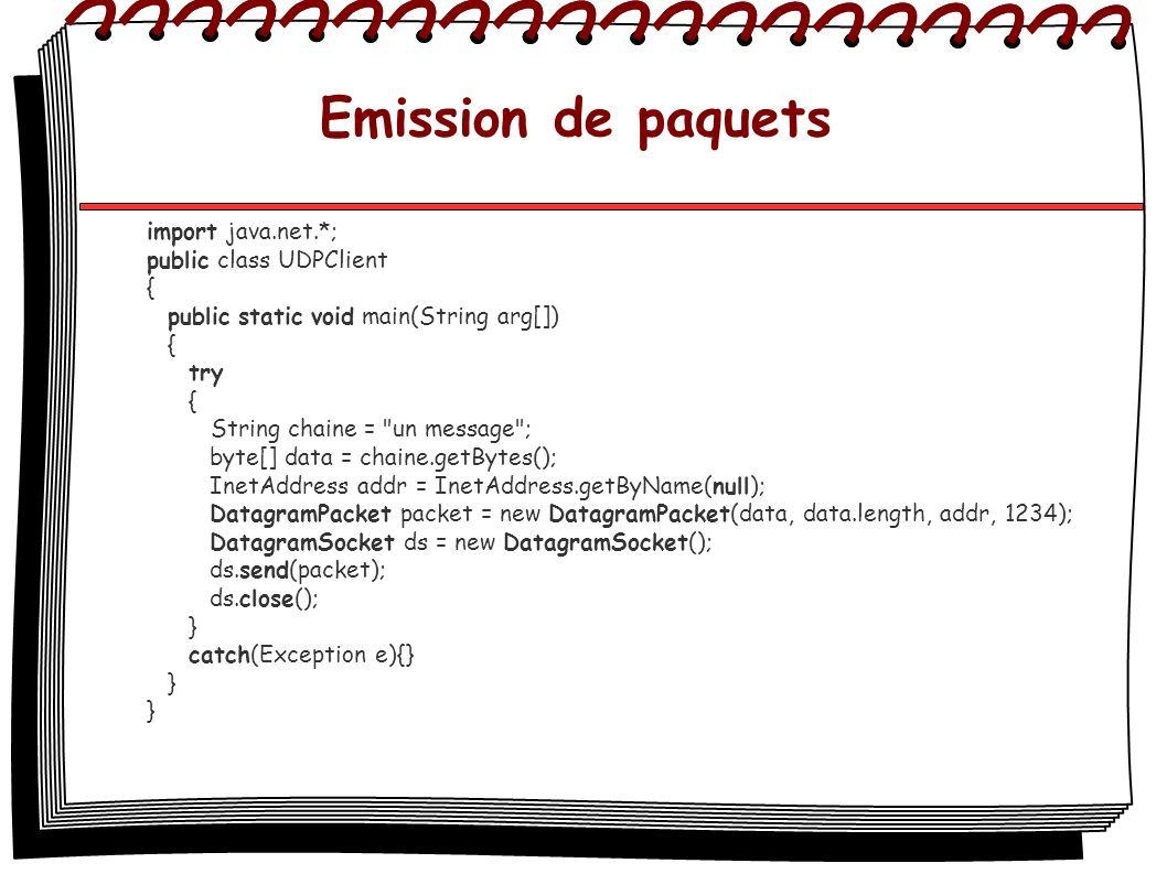 Emission de paquets import java.net.*; public class UDPClient {