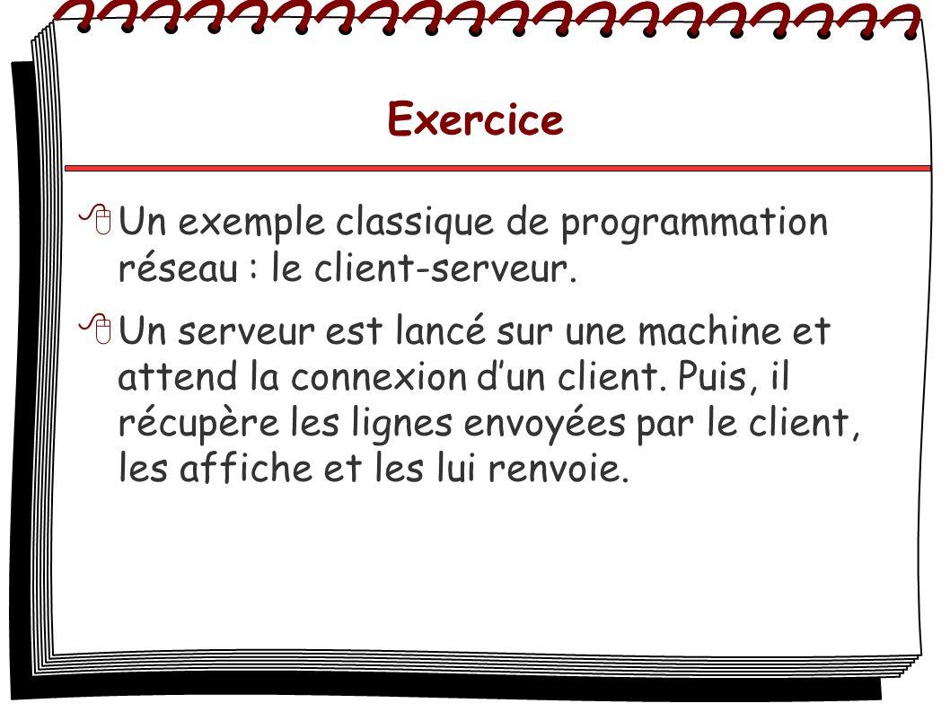 Exercice Un exemple classique de programmation réseau : le client-serveur.