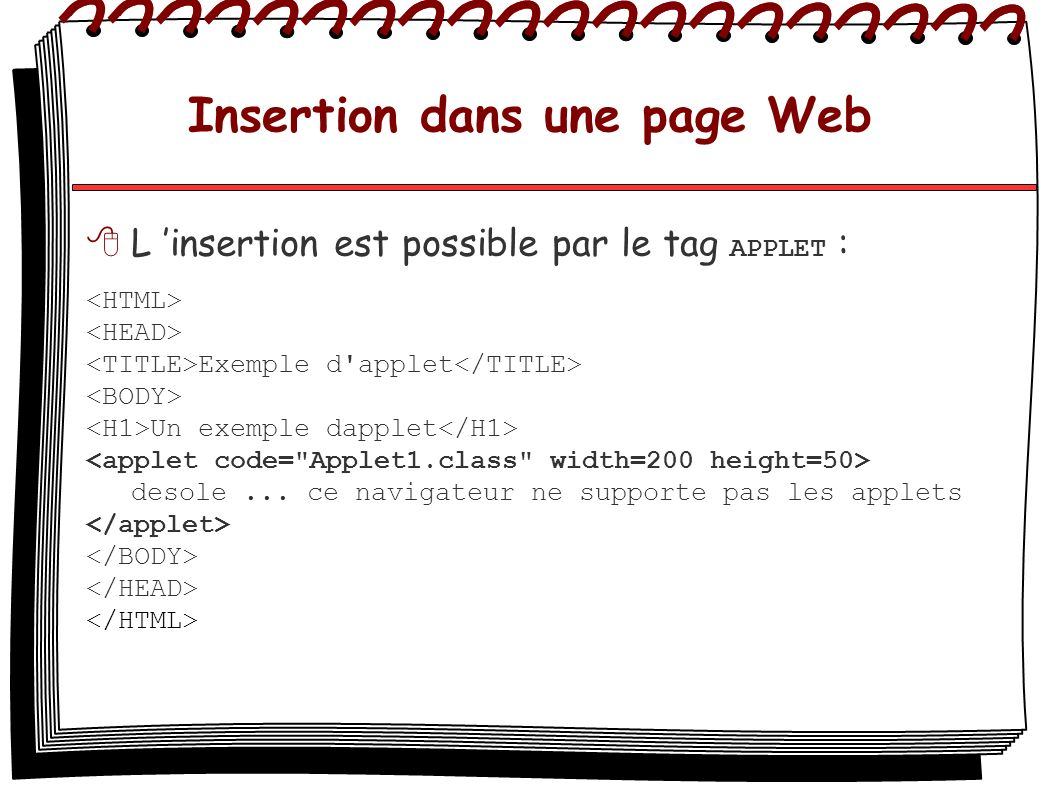 Insertion dans une page Web
