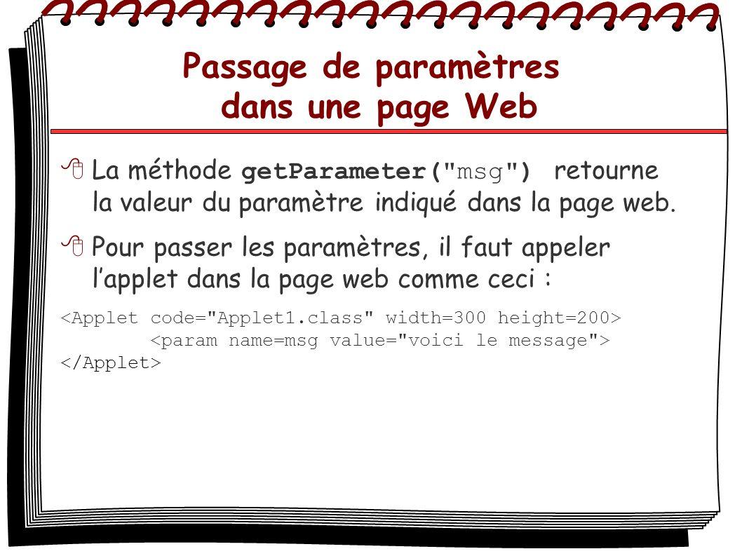 Passage de paramètres dans une page Web