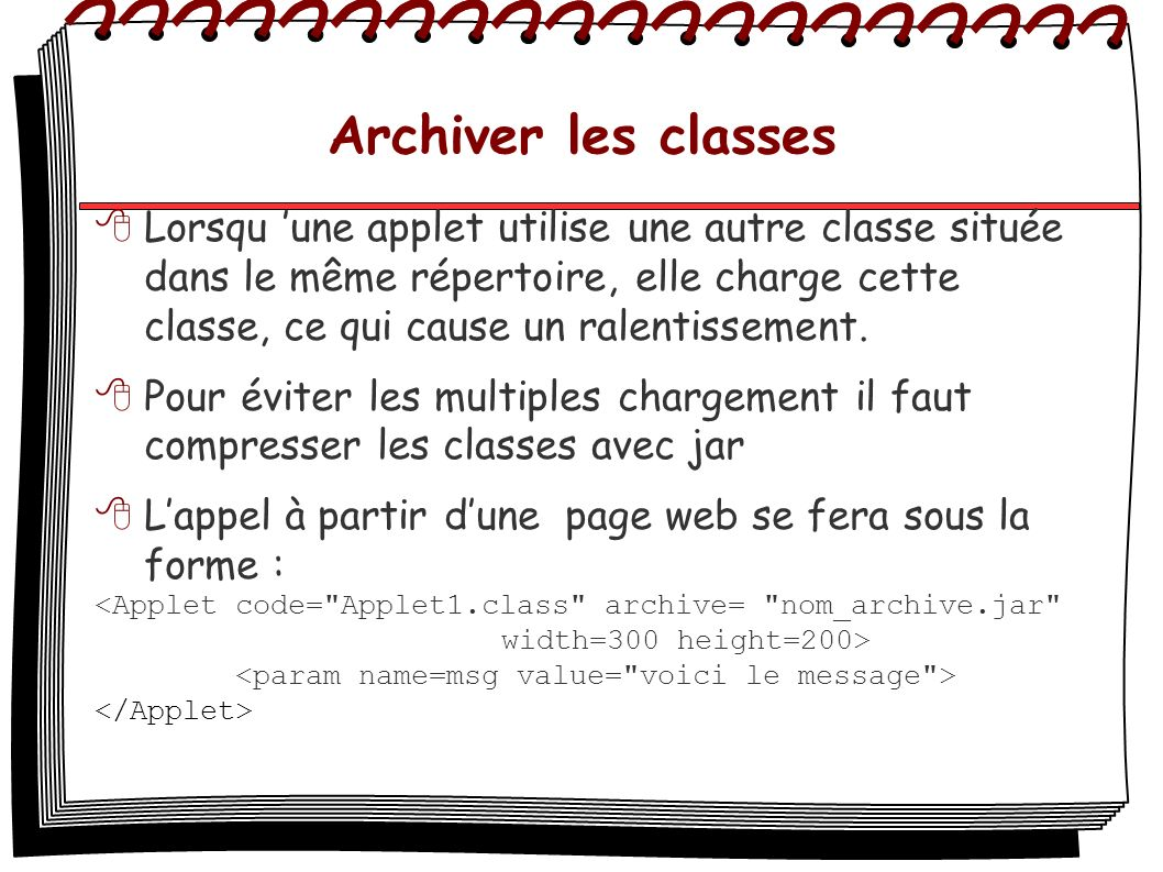Archiver les classes