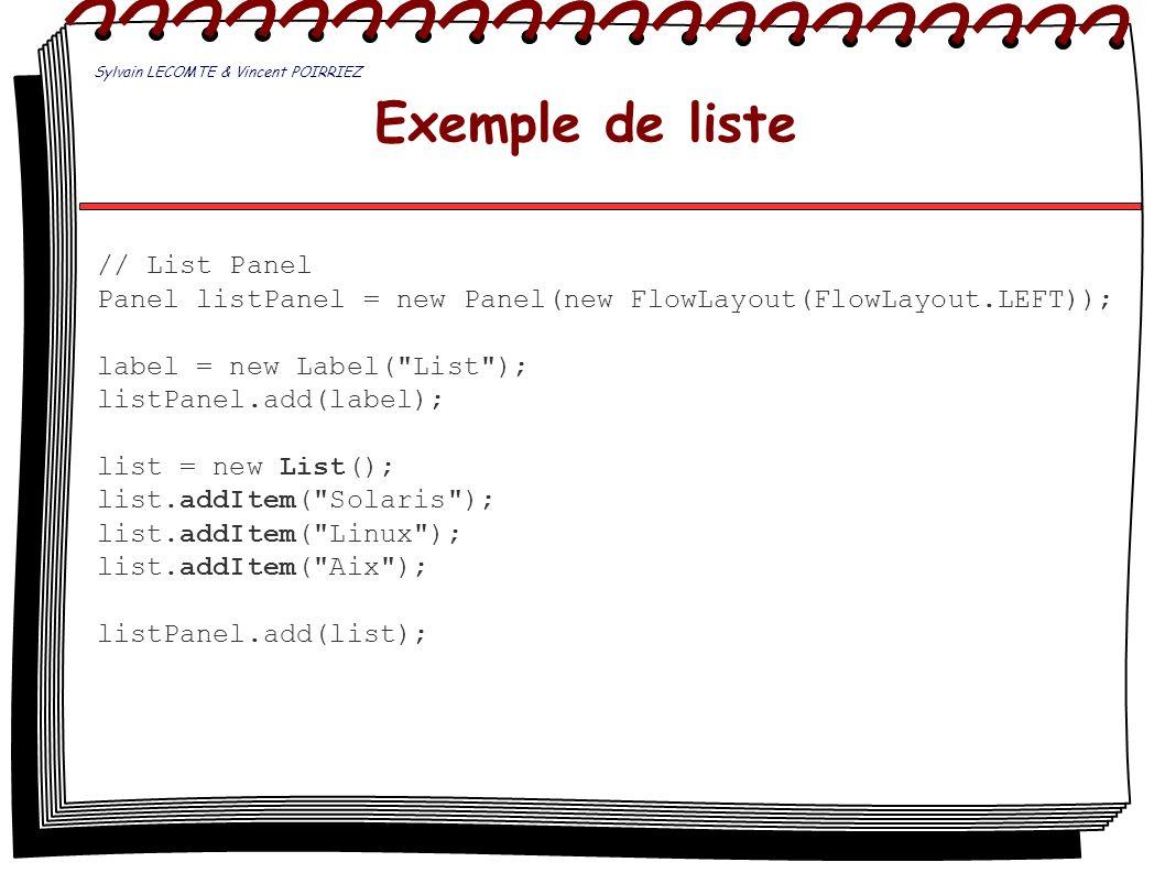 Exemple de liste // List Panel