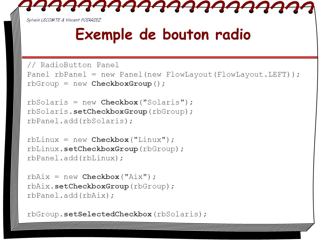 Exemple de bouton radio