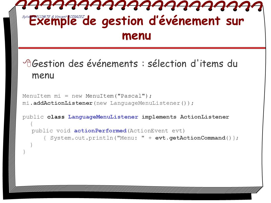 Exemple de gestion d'événement sur menu