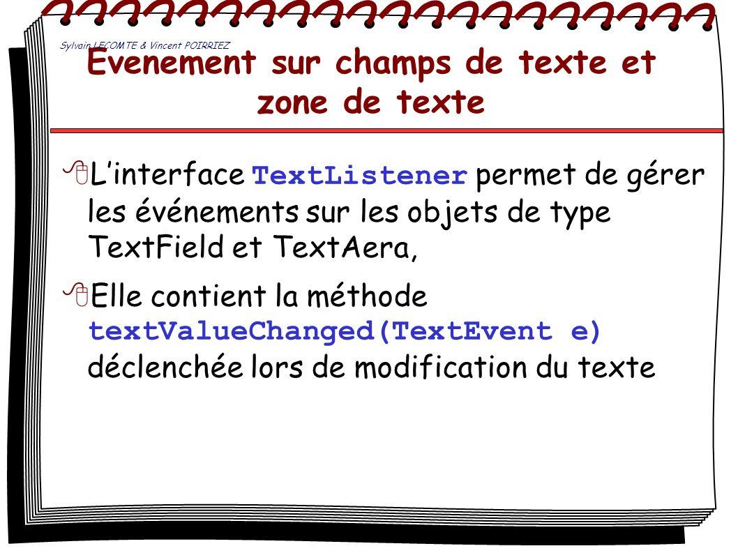 Evenement sur champs de texte et zone de texte